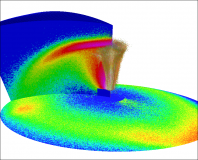 A simulated Pele plume.  Gas and dust rises from the vent region (the blue box in the middle).  The gas falls back on itself under gravity, and when falling gas meets rising gas an umbrella-shaped canopy shock is formed, and the canopy gas falls to the ground in a large ring.  Dust decouples from the gas before the canopy, is spread out by the canopy shock, and falls to the ground much closer to the plume source.